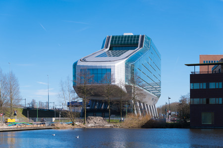 AMSTERDAM,  NETHERLANDS - MARCH 25, 2017: Exterior of the former ING House, but nowadays the building is used as a building for various businesses under the name Infinity. Editorial