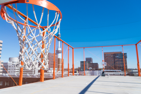 basketball bucket on an outdoor roof basketball field