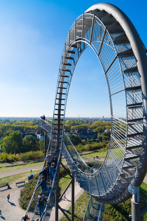DUISBURG, GERMANY - AUGUST 30, 2018: Detail of the Tiger and Turtle magic mountain on the former mine dump area