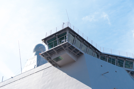 ROTTERDAM, NETHERLANDS - SEPTEMBER 3, 2017: Detail of the Karel Doorman, a dutch multi-function support ship for amphibious operations of the Royal Netherlands Navy Redactioneel