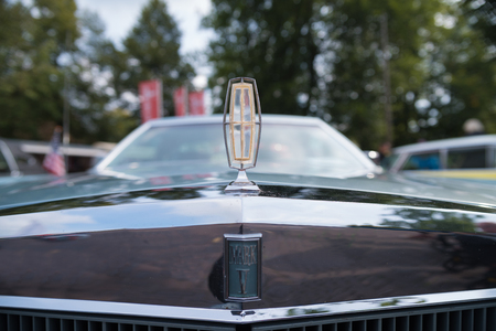 NIJVERDAL, NETHERLANDS - SEPTEMBER 17, 2017: Emblem of a Lincoln Continental Mark V at an oldtimer exhibition