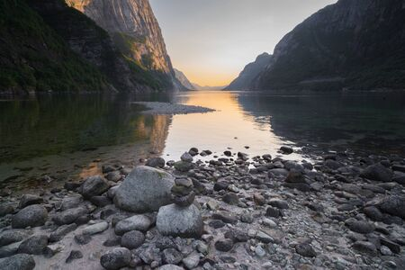 sunset over the beginning of the Lysefjord in Lysebotn, Norway
