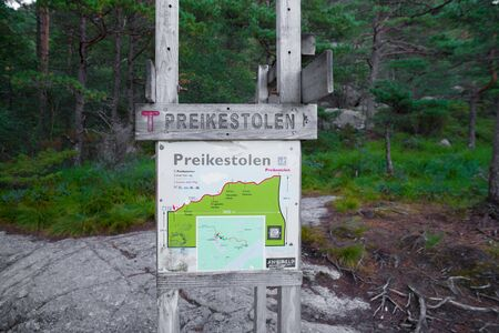 route map of the famous preikestolen. Preikestolen or Prekestolen (English: The Pulpit Rock, Pulpit or Preacher's Chair) is a tourist attraction in the municipality of Forsand in Rogaland county, Norway. Stock Photo