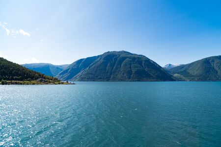 beautiful view over the Sognefjord in Norway Banco de Imagens