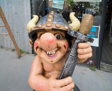 funny trol figure in front of a souvenir shop in Norway