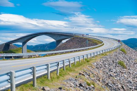 Norway Atlantic Ocean Road or the Atlantic Road (Atlanterhavsveien) been awarded the title as Norwegian Construction of the Century. The road classified as a National Tourist Route. Banco de Imagens