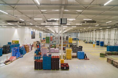 IJSSELMUIDEN, NETHERLANDS - APRIL 6, 2019: Interior of a warehouse of a fruit and vegetables wholesale business