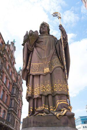 Statue of St Angsar, Archbishop Ansgar von Hamburg - Bremen, the founder of Hamburg cathedral in Old Town
