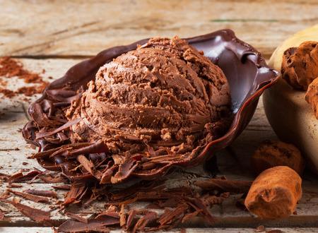 chocolate truffle: Artisanal chocolate ice cream Stock Photo