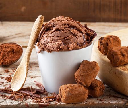Artisanal chocolate ice cream Standard-Bild