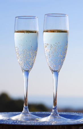 cava: Two glasses of champagne on terrace