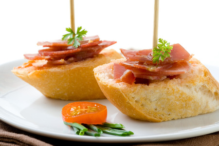 serrano: Spanish montadito tapa with serrano ham