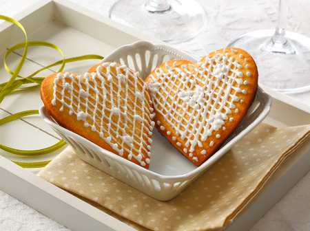 shaped: Tho heart shaped cookies for Valentines Day Stock Photo
