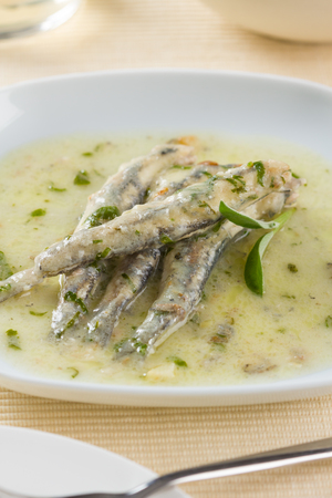 marinated: A plate of marinated anchovies