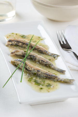 spanish style: Marinated anchovies Spanish style Stock Photo