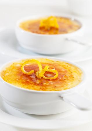 crema: A bowl of creme brulee or crema catalana