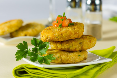 vegetarian hamburger: Vegetarian hamburger patties made with rice and chickpeas.