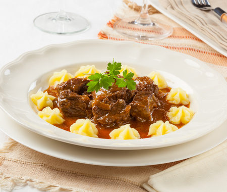 beef stew: Goulash, traditional hungarian beef stew Stock Photo