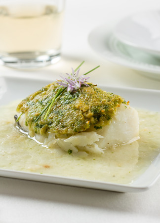 bacalao: Bacalao fillet Basque style, made with dried cod, garlic, green peppers, onion and parsley.