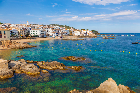 CALELLA DE PALAFRUGELL, SPAIN - JUNE 7: Calella de Palafrugell is a traditional whitewashed fishing village and a popular travel and holiday destination on the Costa Brava, Catalonia, Spain