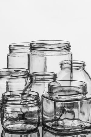 preserves: Empty glass jars for preserves, pickles or jam.