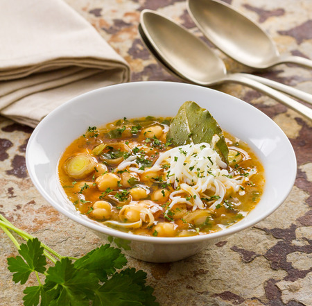 agri: Delicious homemade chickpea soup. Stock Photo