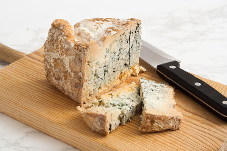 artisanal: Artisanal blue cheese straight from the farm. Stock Photo