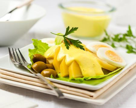 Papa a la huancaina. Peruvian cuisine Stock Photo