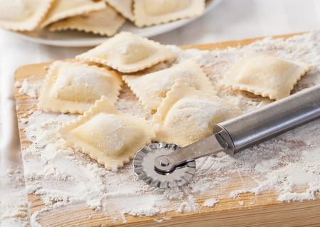 cutting tool: Making homemade Italian pasta ravioli with a cutting tool
