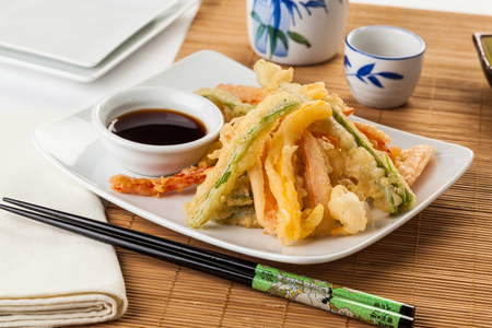 Japanese tempura vegetables fried in a light batter. Served with soy sauce.
