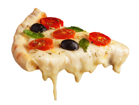 queso fresco blanco: A hot pizza slice with dripping melted cheese. Isolated on white.