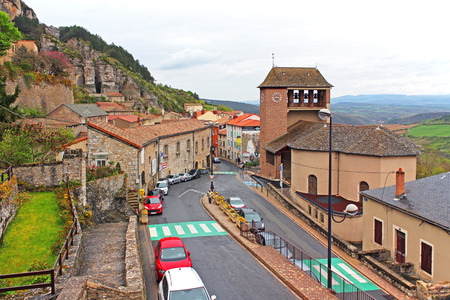 animal origin: ROQUEFORT-SUR-SOULZONFRANCE - FEBRUARY 20: View over the main street of Roquefort, located on the Causse du Larzac. The town is famous for the production and distribution of Roquefort cheese.