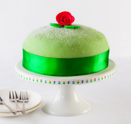 Swedish princess cake, marzipan birthday cake.