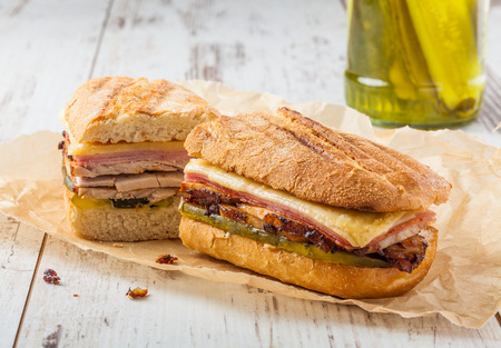 Cubanito. Traditional Cuban Sandwich with Ham, Pork and Cheese