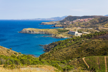 vermilion coast: CERBERE, FRANCE - JUNE 26: View over Cap de Peyrefite, a cape located between Banyuls-sur-Mer and Cerbere. This area is a marine nature reserve, favorite for scuba diving.