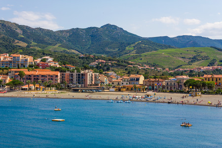 vermilion coast: BANYULS-SUR-MER, FRANCE - JUNE 26: View of the beach of Banyuls-sur-Mer, coastal town in the south of France, Mediterranean sea, Roussillon, Pyrenees Orientales, Vermilion coast, France