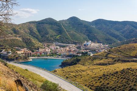 france station: PORTBOU, SPAIN - JUNE 26: Portbou is a village on the border of France, on the Mediterranean coast.