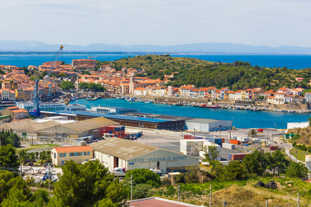 port vendres: PORT-VENDRES, FRANCE -  JUNE 26 2016: View of the Mediterranean town and fishing harbor of Port-Vendres, France Stock Photo