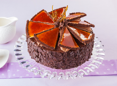 Hungarian Dobos torte, chocolate cake with caramelized top. Reklamní fotografie