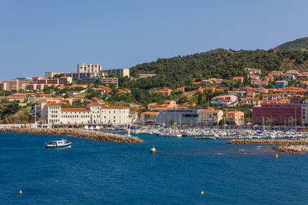 vermilion coast: BANYULS-SUR-MER, FRANCE - JUNE 26: Fishing boat arriving at the port of Banyuls-sur-Mer, coastal town in the south of France, Mediterranean sea, Roussillon, Pyrenees Orientales, Vermilion coast, France