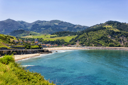 The beach of Santiago de Deva, is located on the right bank of the mouth of the River Deva and is part of the town of the same name belonging to the province of Guipuzcoa, Basque Country, Spain