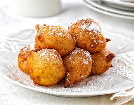 Fried dough balls. Typical New Years Eve treat in the Netherlands. Foto de archivo
