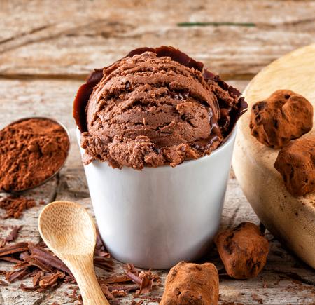 Artisan chocolate ice cream with sauce, truffles and scrapings Stock Photo