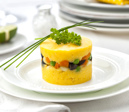 Causa rellena, a typical dish from Peru. Foto de archivo
