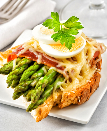 Toast with asparagus, bacon, melted cheese and boiled egg.