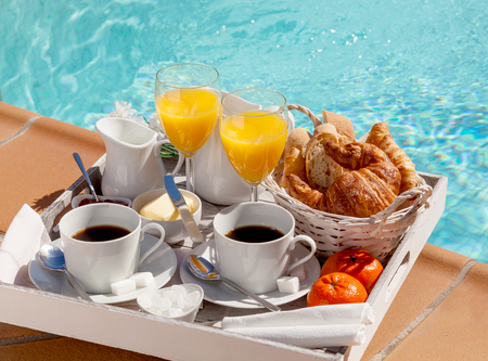 A delicious breakfast at the hotel swimming pool