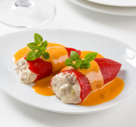 Stuffed red piquillo peppers, Spanish gastronomy Stock Photo