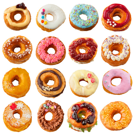 A collection of colorful sweet and salty homemade cronuts.