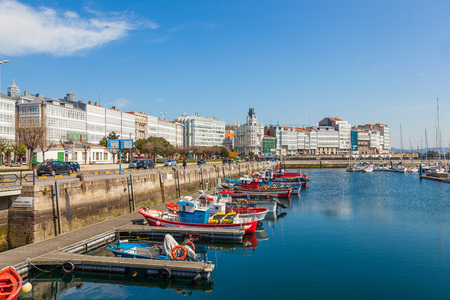 LA CORUNA, SPAIN -MARCH 26, 2012: Harbor of La Coruna, Galicia, Spain. The main port activities are fishing, coal, containers and oil.