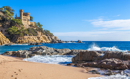Costa Brava, Spain. Castle on the rocks at Lloret de Mar. Reklamní fotografie